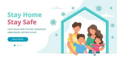 Family staying at home in quarantine landing page vector