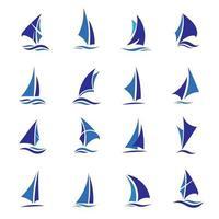 Set of blue sailing boats vector