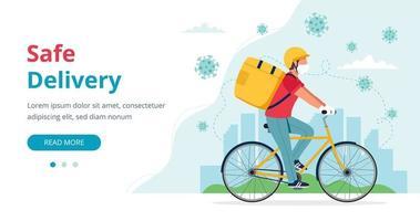 Mensageiro mascarado andando de bicicleta com caixa de entrega