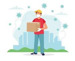 concepto de entrega segura, repartidor enmascarado con una caja