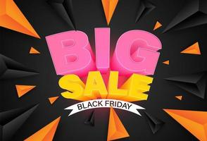Banner de gran venta de viernes negro con triángulos dinámicos vector