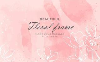 Floral Frame on Watercolor Texture vector