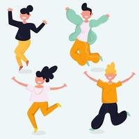 Young people jumping together set