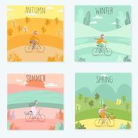 Cartoon style outdoor activity seasonal card set vector
