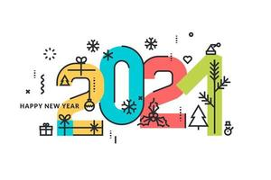 Colorful 2021 New Year Design with Holiday Icons