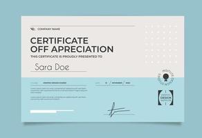 plantilla de certificado minimalista azul y blanco