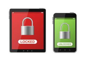 Locked phone and tablet set vector