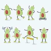 Cute avocados characters doing exercise