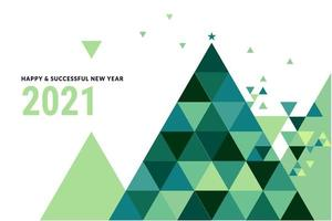 New Year 2021 Design with Polygon Christmas Tree