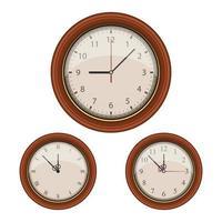 Vintage circular wall clock set vector