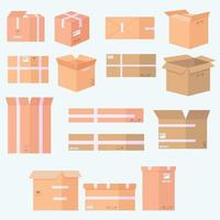 Various cardboard boxes icon set vector