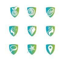 Shield for health care logo set vector