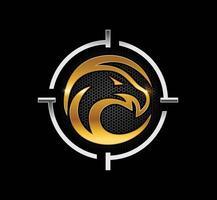 Golden eagle in target symbol emblem vector