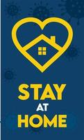 quédese en casa para detener la propagación de virus y gérmenes póster