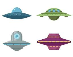 Set of various flying saucers vector