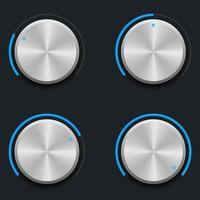 conjunto de botones de volumen metálico vector