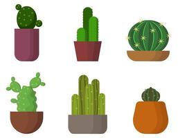 conjunto de diferentes cactus en macetas. vector