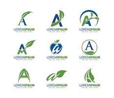 Monogram letter A Logo with Leaf Symbol Set vector