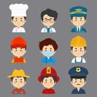 Great Variety of Male Worker Avatar vector
