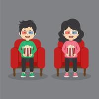pareja de personajes sentados en el cine vector