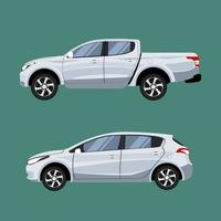 Pickup truck and hatchback in side view vector