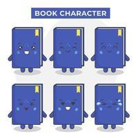 lindos personajes de libros con varias expresiones vector