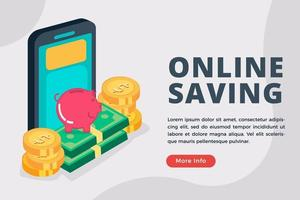 Online saving business isometric concept