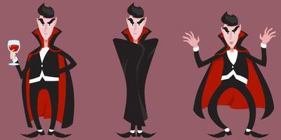 Count Dracula in different poses vector