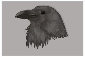 dibujo a mano cabeza de cuervo negro vector