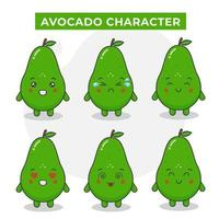 Cute Avocado Characters With Various Expressions