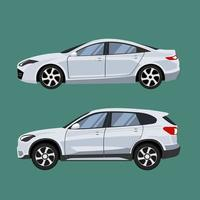 SUV and sedan in side view vector