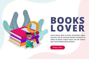 People love reading books isometric concept