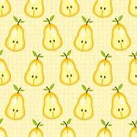 Sliced pear fruit seamless pattern