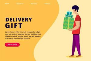 Delivery gift service concept landing page template. vector