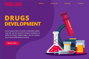 plantilla de página de destino del concepto de desarrollo de medicamentos vector