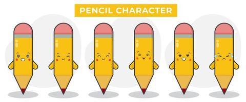lindo libro lápiz con varias expresiones vector
