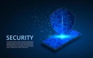 seguridad del teléfono inteligente móvil diseño geométrico de baja poli