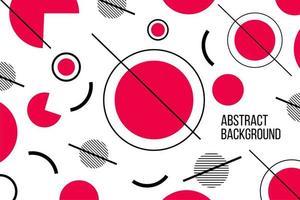 diseño de línea de círculo geométrico plano rojo y blanco abstracto