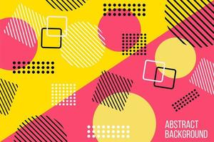Abstract flat pink and yellow geometric design vector