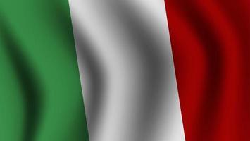 bandera italiana ondeando realista vector