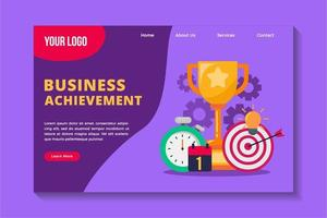 Business achievement concept landing page template