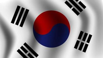 Realistic waving south korean flag