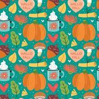 Autumn elements seamless pattern vector