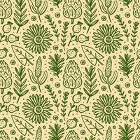 Herbs, plants seamless pattern vector