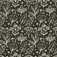 Flower, branch, leaf, cone seamless pattern vector