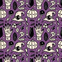 patrón sin costuras de halloween en morado, beige y negro
