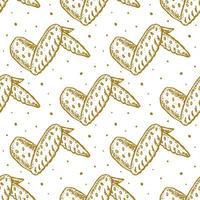 alitas de pollo, monocromo, seamless, patrón vector