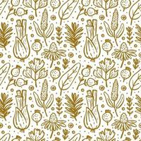 Herbs, forest plants seamless pattern vector