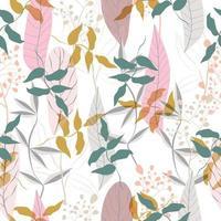 Pastel leaf and flower pattern vector