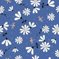 Cute hand drawn flowers and dragonfly pattern vector